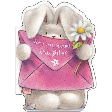 "DAUGHTER BIRTHDAY CARD ""CUTE BUNNY DESIGN"" SIZE 7"" x 5""  RNHH 0085"